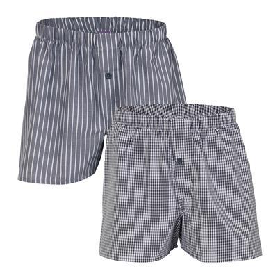 1b0b9c2aa8f3b Duo de boxer tissé en coton bio gris à rayures ou carreaux - Living Crafts