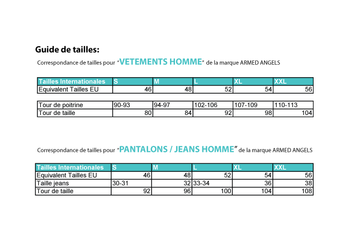 Guide des tailles homme armed angels for Taille bache pour bassin